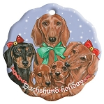 Dachshund Holiday Porcelain Christmas Ornament