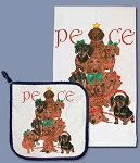 Dachshund Peace Christmas Kitchen Towel & Pot Holder Set