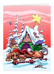 Dachshund Christmas Doghouse Greeting Cards