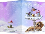 Dachshund & Birds Holiday Greeting Cards