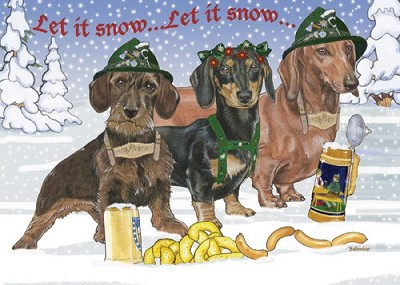 Let It Snow Dachshund Christmas Cards